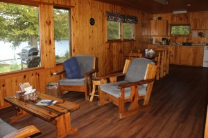 Cabin One Livingroom at Cedar Island Lodge on Pipestone Lake in Ontario, Canada