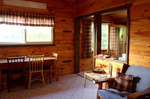 The Winter Cabin Dining/Livingroom at Cedar Island Lodge on Pipestone Lake, Ontario Canada